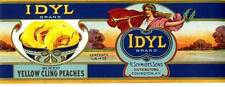 Antique/Vtg Idyl Cling Peaches CAN LABEL Covington, Ky General Grocery Store