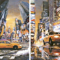 TIME SQUARE PERSPECTIVE I (19x39) and II (19x39) SET by MATTHEW DANIELS CANVAS