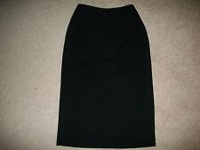 "Dana Buchman 6 - 10 Long Black Pencil Skirt 27"" Waist Back Slit 100% Wool"