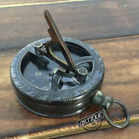 Christmas Engraved Sundial Pocket Compass with Brass Handy Maritime Nautical