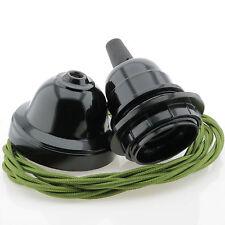 Vintage Pendant Kit, Black Bakelite E27 Bulb Holder Twist Flex in Green