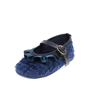 AMORE IS ME! Baby Mary Jane Shoes Size 17 UK 1 US 2 Tweed Ruffle Made in Italy