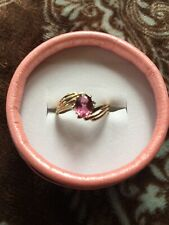 14k gold Genuine pink tourmaline Diamond ring