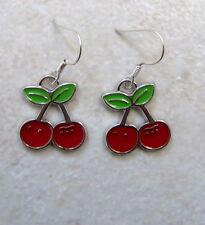 SMALL girls cherry bunch rockabilly 1950 style earrings