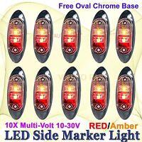 10X Red Amber Multivolt Side Light LED Marker Trailer Clearance Oval Chrome base