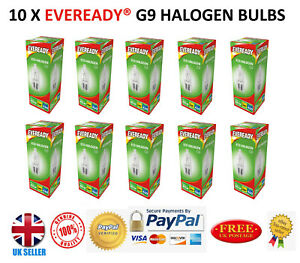 10x  Eveready G9 Halogen Capsule Bulbs Replace Bulb Light Lamp Warm White 460 UK