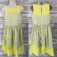 Ann Taylor LOFT Size 2 Fit & Flare Sleeveless Dress Yellow Gray Paisley Print