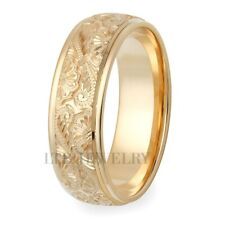 10K YELLOW GOLD HAND ENGRAVED MENS WEDDING BANDS RINGS 7MM