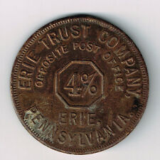 ERIE TRUST COMPANY ERIE PENNSYLVANIA 4% BRASS TOKEN GOOD FOR 25C ON $1 ACCOUNT