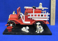 Fire Truck Music Box Musical Figurine Dalmatian Dog Wood Smoke Gets In Your Eyes