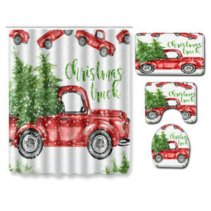 Christmas Farmhouse Red Truck Shower Curtain Pine Fir Tree Bathroom Flannel Mat