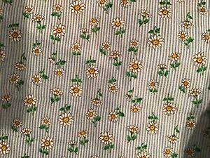 White daisies on blue and white striped fabric by Moda by the half yard