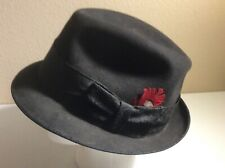 After Six Formal Headwear Black Felt Fur Fedora Hat Form-All-Fit