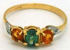 GENUINE ALEXANDRITE, YELLOW TOPAZ & DIAMOND RING 10k GOLD * FREE Appraisal *