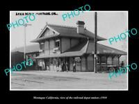 OLD LARGE HISTORIC PHOTO OF MONTAGUE CALIFORNIA, RAILROAD DEPOT STATION c1910
