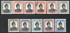 BRUNEI 1952 ELEVEN STAMPS MNH AND USED