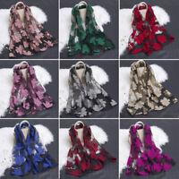 EG_ Women's Fashion Elegant Flower Organza Long Wrap Scarf Soft Shawl Lady Relia