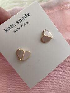 New Kate Spade Gold-Tone Heart Pale Vellum Stud Earrings Gift