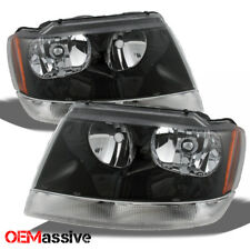 Fit 99-04 Jeep Grand Cherokee Replacement Black Headlights Headlamps L + R