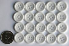 Buttons - 15mm Ridged - 20 x White Matching - Sewing Knitting - Pack NO 16