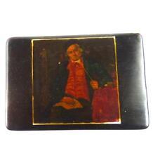 ANTIQUE 19TH CENTURY BLACK PAPIER MACHE SNUFF BOX PAINTING OF SEATED MAN