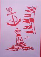 Schablone 302 Anker Wandtattoo Möbel Wandbild Airbrush Stencil Dekoration Mylar