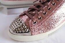 New Miu Miu Women's Sneakers Tennis Shoes Size 9.5 Fashion Glitter Lux