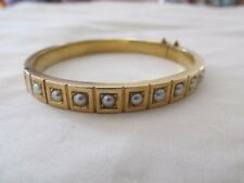 Antique Victorian 15ct Gold and Half Pearl Hinged Bangle w Valuation $3000