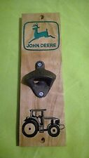 John Deere Bottle opener Carved Cherry Wood American Made Home Made