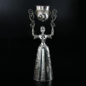 Rare & Early Large German 800 Silver Wedding Wager Cup with Shell Motif