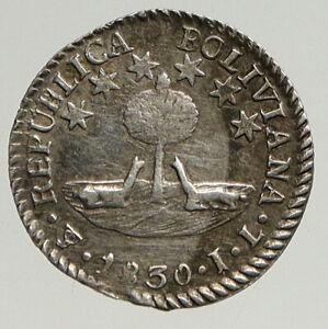 1830 BOLIVIA Large SIMON BOLIVAR ANTIQUE Vintage 1/2 Half Sol Silver Coin i93640