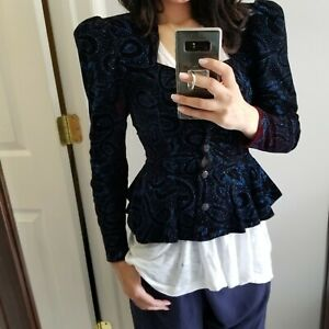 1980s Puff Sleeve Crop Cotton Jacket S M