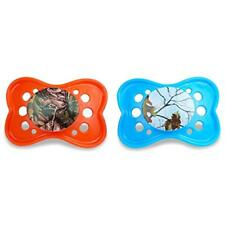 2 Pack Realtree Orthodontic Blue And Orange Camouflaged Pacifier Bpa Free