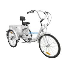 "3-Wheel Adult 24""  6-Speed Tricycle Trike Bicycle Bike Cruise Basket White New"