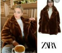 ZARA SOLD OUT FAUX FUR  BROWN COAT  JACKET SIZE XS 1255/210