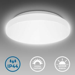 LED Deckenleuchte Bad rund Badezimmer-Lampe flach IP44 Schlafzimmer Küche Flur