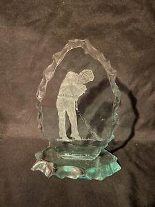 Vintage Golf Sculpture Golfer's Swing  Glass Man Male Green Signed