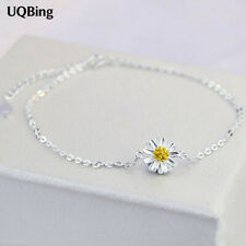 Dainty 925 Sterling Silver Daisy Flower Chain Anklet Ankle Bracelet