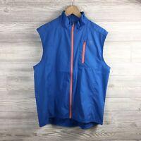 Mens Southern Tide Nylon Tide To Trial T3 Vest Medium Blue Orange Zip Up Preppy
