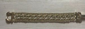 """BERGERE Signed VINTAGE Chunky Chain Link BRACELET Gold Plated Tone 7.5"""""""