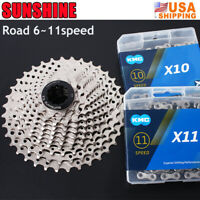 SUNSHINE KMC 6/7/8/9/10/11Speed 116/118Links Chain Road Bike Cassette 11-25-36T