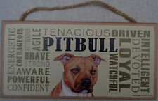 Pit Bull Subway Style 5 X10 hanging Wood Sign made in the Usa! American Terrier