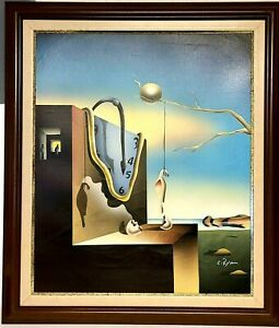 "Salvador Dali Inspired Surrealism Painting On Canvas Signed C. Ryan! 25"" X 29"" 2"