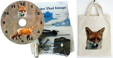 DIY CD Clock KIT. Foxes, in small canvas gift bag with Fox Motif