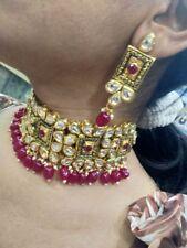 Real Kundan Necklace Set Bollywood Jewelry Ad CZ Polki Handmade Statement Set 6