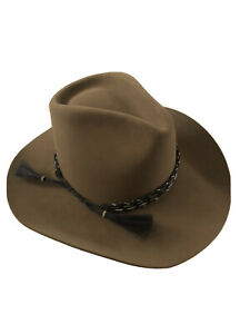 Vintage RESISTOL XXXX 4X Beaver Self-Conforming Brown Western Cowboy Hat Size 7