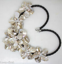 Natura White Flower Mother Of Pearl Shell pendant Necklace Fashion Jewelry 18''