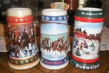 3 Budweiser Collector Series Holiday Beer Steins 1993 91 95 Clydesdale Wagon