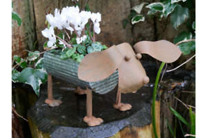 RUSTIC STYLE METAL DOG PLANTER GARDEN ORNAMENT HEAD ON SPRING FLOWER POT TROUGH