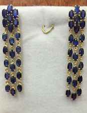 14k Solid Yellow Gold Dangle Earrings W/Natural Oval Sapphire 9.05GM 12.76CT